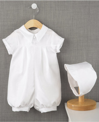 Lauren Madison Baby Romper, Baby Boys Pleated Christening Romper $45 thestylecure.com