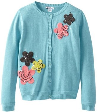 Hartstrings Girls 7-16 Big Girl Sweater Cardigan with Embroidered Flowers