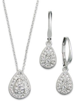Eliot Danori Rhodium-Plated Crystal Teardrop Earrings and Pendant Necklace Set, Created for Macy's