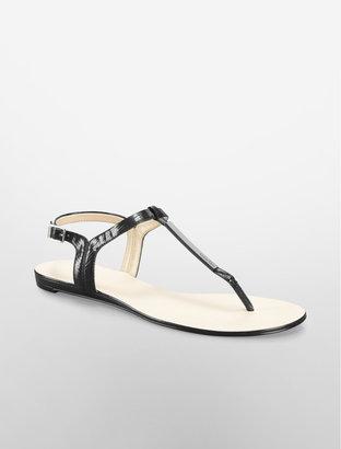 Calvin Klein Black Samira Snake Print Patent Leather Sandal