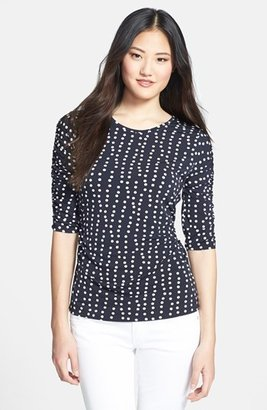 Chaus Wavy Dot Print Ruched Sleeve Top
