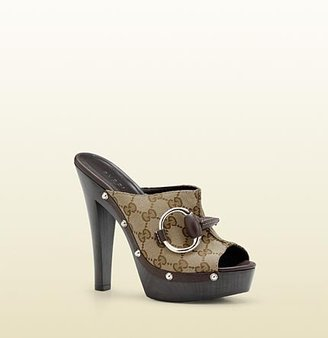 Gucci 'icon Bit' High Heel Clog With Horsebit Detail And Studs.