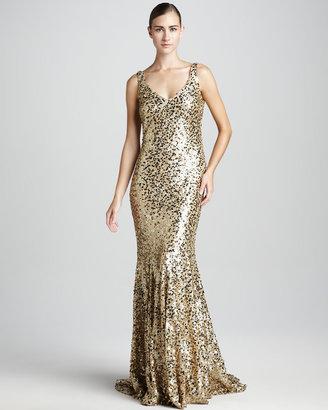 Badgley Mischka Metallic Sequined Mermaid Gown