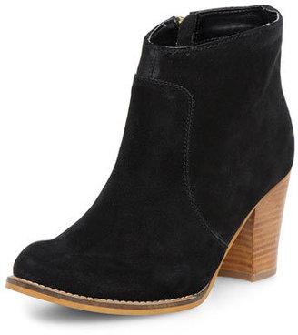 Dorothy Perkins Black suede zip heeled boots
