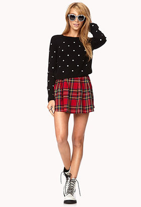 Forever 21 Sweet Polka Dot Cropped Sweater