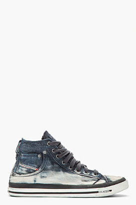 Diesel Indigo Distressed Denim Exposure I Sneakers