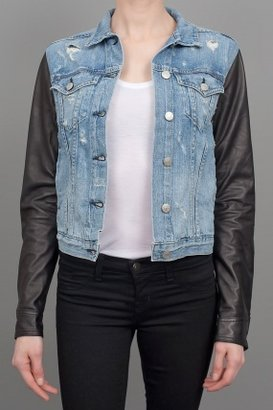 Rag and Bone Rag & Bone Leather Sleeve Denim Jacket Tattered