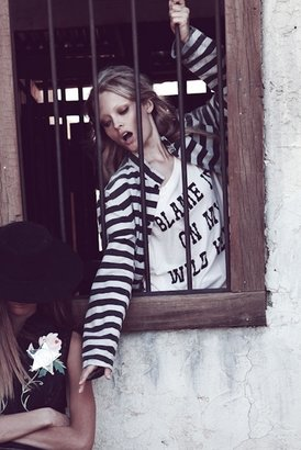 Wildfox Couture Blame It On My Wild Heart Oversized Tee In Ghost Nude