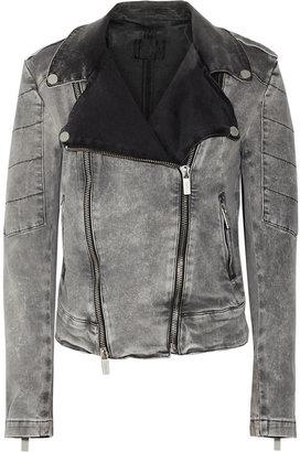 Karl Lagerfeld Jovanna faded stretch-denim biker jacket