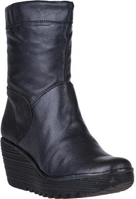 Fly London Yari Wedge Boot Black Leather