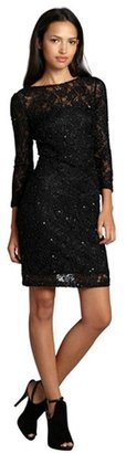Aidan Mattox black sequined stretch lace 3/4 sleeve party dress