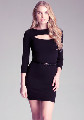 Bebe Cutout Belted Midi Dress