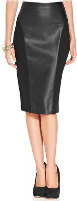XOXO Juniors Skirt, High-Waist Faux-Leather Ponte-Knit Pencil