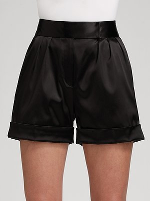 Jay Godfrey Silk Satin Pleated Cuff Shorts