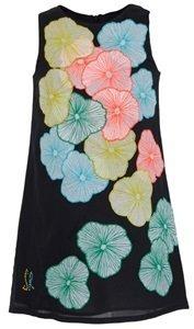 Rykiel Enfant Black Shift Dress With Neon Flowers