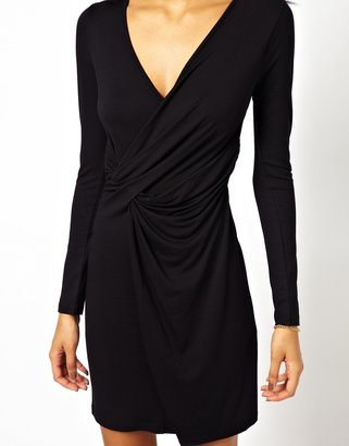 Asos Body-Conscious Dress With Wrap And Twist Detail