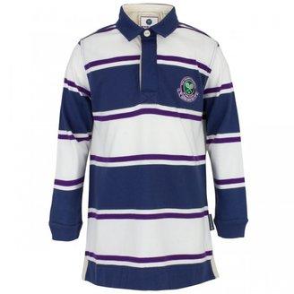 Wimbledon Stripe long sleeve tennis polo