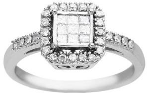 Lord & Taylor Diamond Cluster Ring in 14 Kt. White Gold