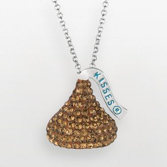 Hershey's Rhodium-plated sterling silver simulated crystal kiss pendant