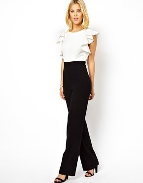 Asos Jumpsuit in Monochrome with Ruffle Back - Black/white
