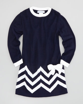 Florence Eiseman Zigzag-Border Long-Sleeve Shift Dress