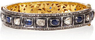 Artisan Sterling silver, sapphire and diamond bangle