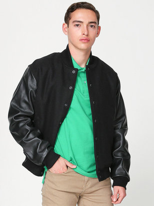 American Apparel Wool Club Jacket with Leather Sleeves