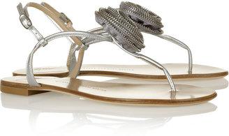 Giuseppe Zanotti Embellished metallic leather sandals