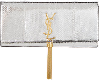Saint Laurent Python Monogram Tassel Clutch