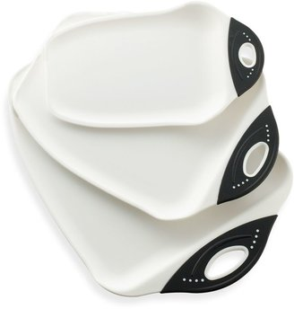 Dexas Chop and ScoopTM Cutting Board in White/Black