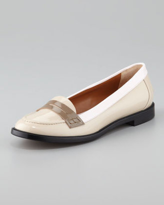 Fendi Colorblock Patent Leather Penny Loafer, Beige