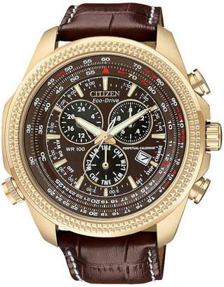 Citizen Men's Chronograph Eco-Drive Dark Brown Leather Strap Watch 43mm BL5403-03X $450 thestylecure.com