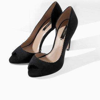 Zara Asymmetric Peep Toe Stilettos