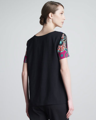 Etro Mixed-Print V-Neck Tee, Pink/Teal