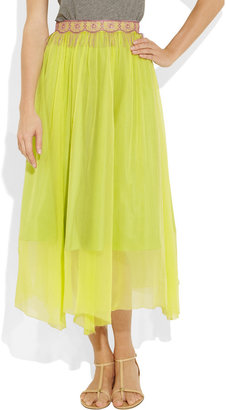 Creatures of the Wind Lace-trimmed silk-chiffon skirt