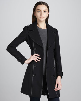 Burberry Leather-Trim Stretch-Wool Coat