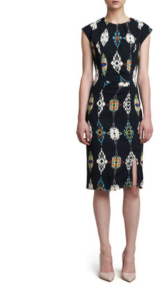 Etro Ganado-Print Keyhole Dress, Black