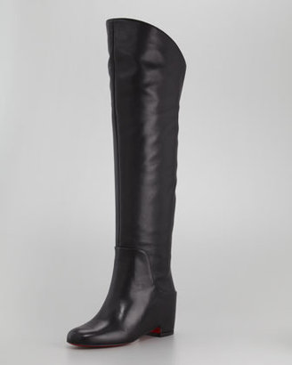 Christian Louboutin Beatrice Over-the-Knee Leather Red Sole Boot