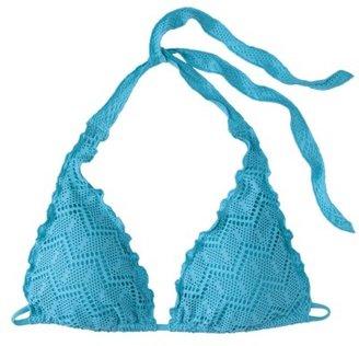 Mossimo Women's Crochet Halter Swim Top -Allure Blue