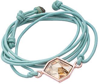 Diana Warner Rose Gold Aqua Leather and Golden Shadow Kathryn Stone Callahan Wrap Bracelet