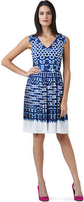 Adrianna Papell Ikat Print Pleated Dress