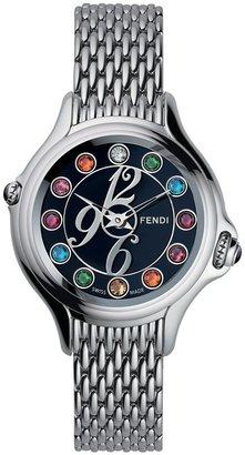 Fendi 'Crazy Carats' Black Dial Bracelet Watch, 38mm Silver/ Multi
