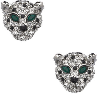 Blu Bijoux Silver Black Green And Clear Crystal Cat Earrings