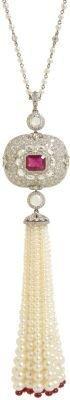 Munnu Ruby, Diamond, & Pearl Tassel Pendant Necklace