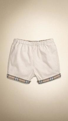 Burberry Check Cuff Cotton Shorts