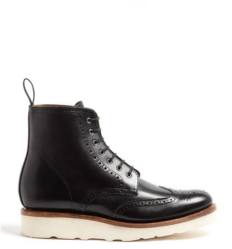 Grenson Emma Black Derby Boots With Rubber Wedge Sole