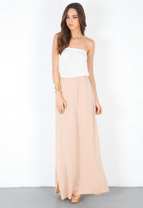Chelsea Flower Combo Strapless Maxi Dress in White/Nude -