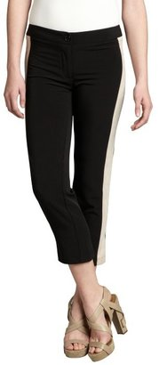 The Cue black and beige cotton blend tuxedo stripe cropped pants