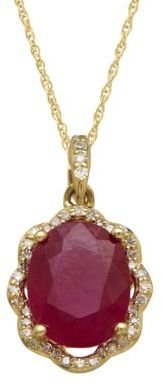 Lord & Taylor 14Kt. Yellow Gold, Ruby & Diamond Pendant Necklace