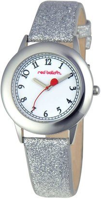 EWatchFactory Red Balloon Kids' W000352 Tween Stainless Steel Silver Glitter Leather Strap Watch